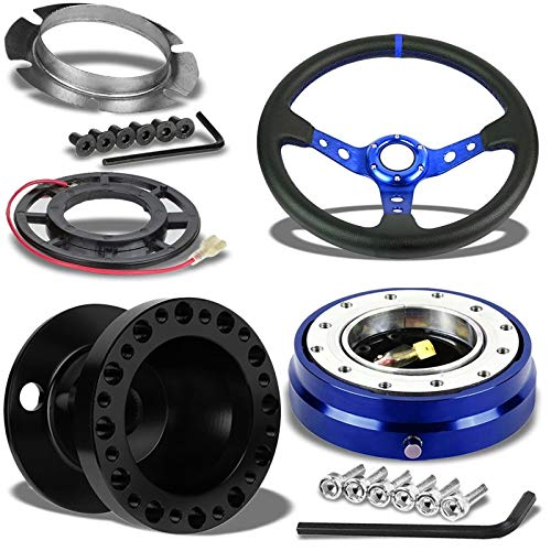 "350MM 3"" Blue Tri-Spoke/Blue Stripe Steering Wheel+Black 6-H"