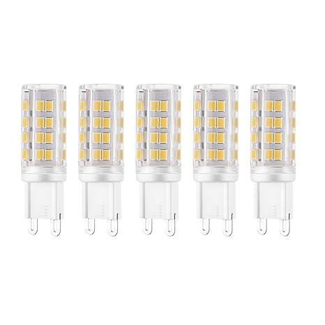Rye-Tech 2835 Pack de 5 bombillas LED G9, 6 W (equivalente a 45 W en ...
