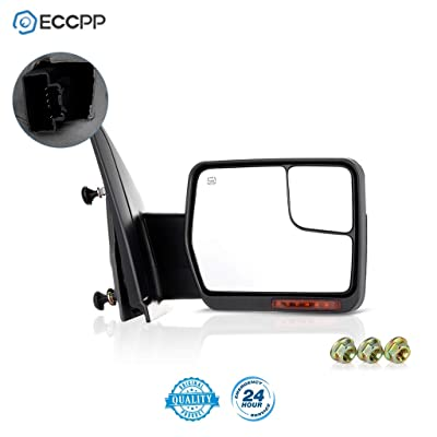 ECCPP Replacement fit for Ford F-150 2007-2014 Passenger Chrome Towing Mirror Power Heated Puddle Light Turn Signal Right Side View: Automotive [5Bkhe0402273]