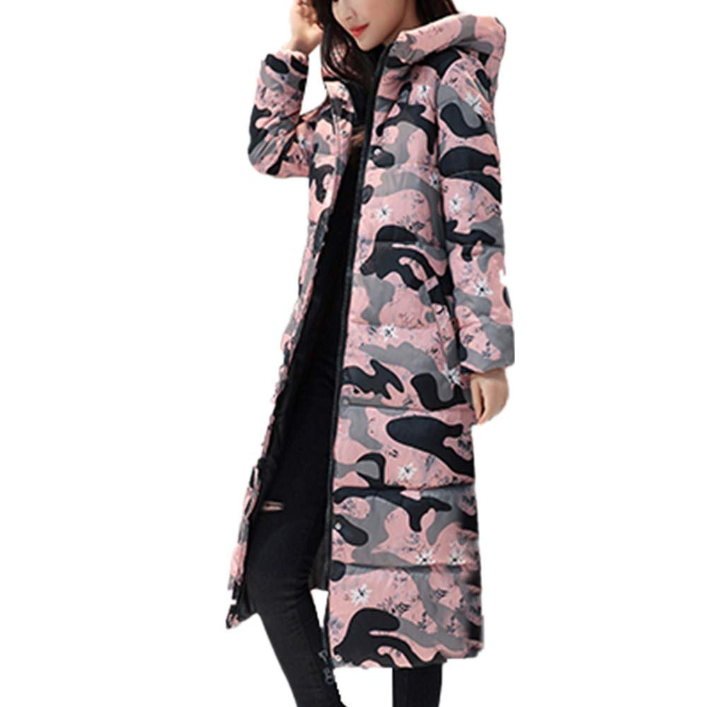 NUWFOR Women Quilted Faux Fur Trim Hooded Jackets Warm Parka Lined Belted Insulated Puffer Coats for Winter(Pink,M)