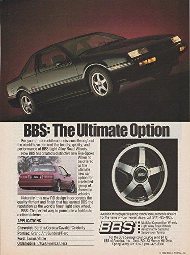 *PRINT AD* 1988 BBS LIGHT ALLOY ROAD WHEELS with CHEVROLET BERETTA GT & PONTIAC GRAND AM