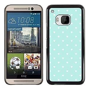 Be Good Phone Accessory // Dura Cáscara cubierta Protectora Caso Carcasa Funda de Protección para HTC One M9 // Teal Hearts Wallpaper Rustic Love Pattern