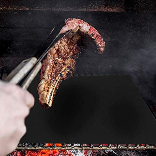 BCXGS Set de 4 Tapis de Cuisson Tapis avec Brosses, BBQ Barbecue Plaque Feuille de Cuisson Four pour Barbecue gaz Charbon électrique 100% Anti-adhérent,40x50x2cm