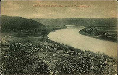 Ohio River and Bird's Eye View of Town Vanceburg, Kentucky Original Vintage Postcard