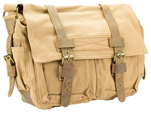 Khaki Messenger Bags (JS Collision Color Retro Style Double Buckle Front Pocket Canvas Messenger Bag (Khaki))