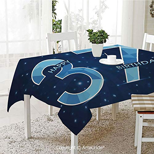 (AmaUncle 3D Printed Tablecloth Cheerful Late Years Life Age Open Night Starry Sky Symbolic Design Decorative,W55 xL72,with Stylish Design for Kitchen Dining Room)