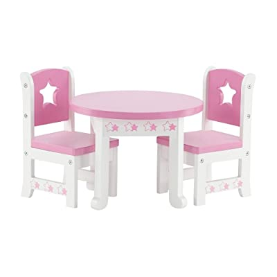 14 Inch Doll Furniture | Lovely Pink and White Table and 2 Chair Dining Set with Beautiful Star Motif | Fits American Girl Wellie Wisher Dolls