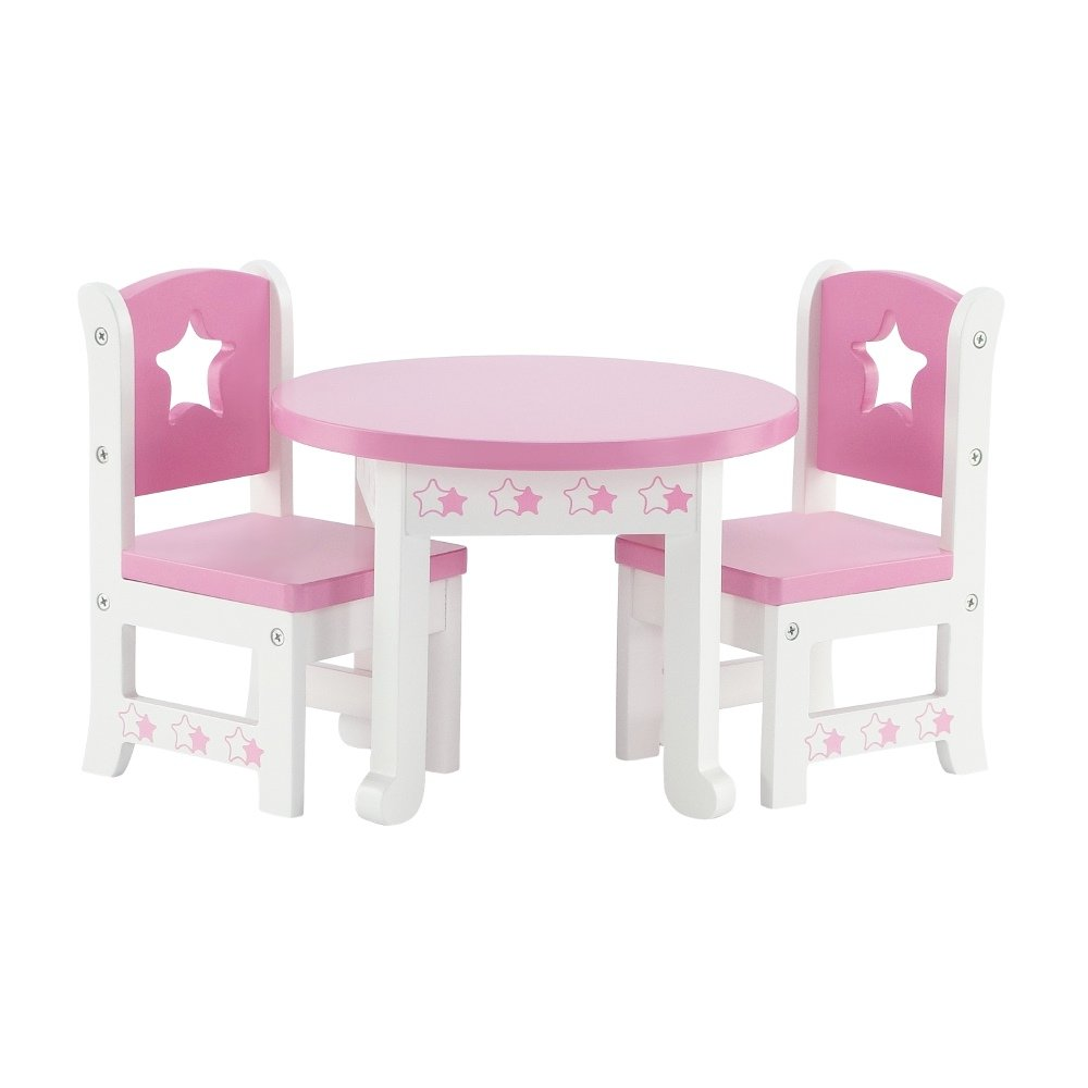 Amazon.com: 14 Inch Doll Furniture | Lovely Pink and White Table and ...