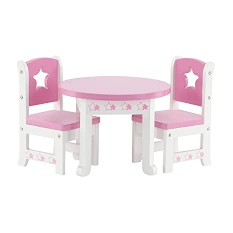 Amazon Com 14 Inch Doll Furniture Lovely Pink And White Table And
