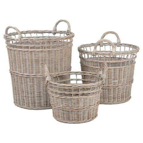 Anita Wicker Round Baskets . Set of 3 Sizes Light Gray wash finish Hand Woven Storage Basket. Decorative and Versatile for Home or Office Use. Easy and Convenient to Transport.