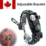 Adjustable Paracord Survival Bracelet, 20 in 1, with SOS LED Lights, Compass, Whistle