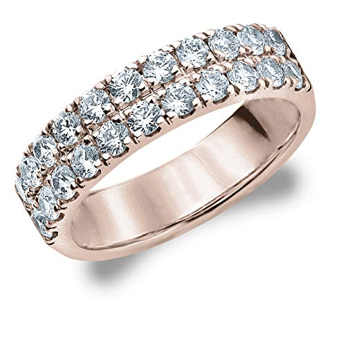 Eternity Wedding Bands 1.0 CTTW Diamond Ring in 10K Rose Gold, Two Row Prong Set Diamond Anniversary Ring Size 7.25
