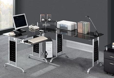 Bureau informatique verre trempé noir table basse verre trempé