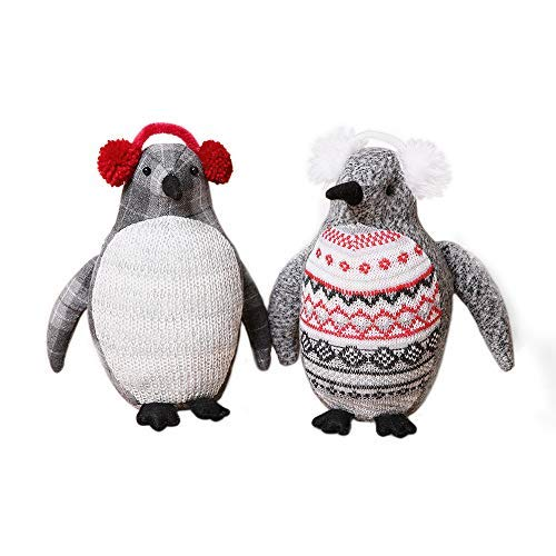 Penguin Plush Stuffed Animal Toy - Grey Penguin with earmuffs - Suitable For Babies and Children- 9.5 Inches(Set of 2) (Baby Penguin Figurine)