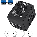 ShuttleLock Universal Travel Adapter, Worldwide Travel Power Adapter with 3.4A 3 USB 1 Type C Wall Charger Power Plug AC Plug Adaptor for the UK, EU, AU, Asia Covers 150+Countries (Black)