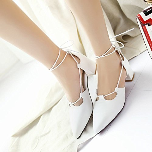 Carolbars Womens Spaanse Teen Lace Up Bandage Latin Dance Sandalen Shoes White