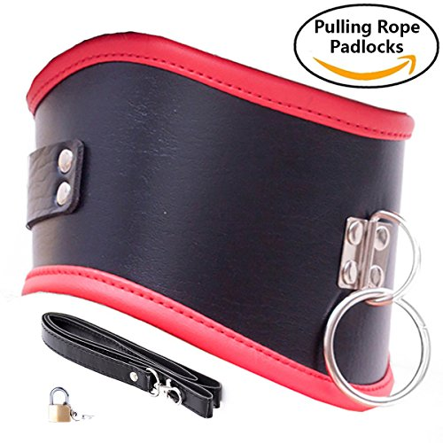 Price comparison product image Adjustable Locking O Ring Faux Leather Football Neck Rolls & Collar ( Pulling Rope & Padlock 1 Piece)(Black, Red Hem)