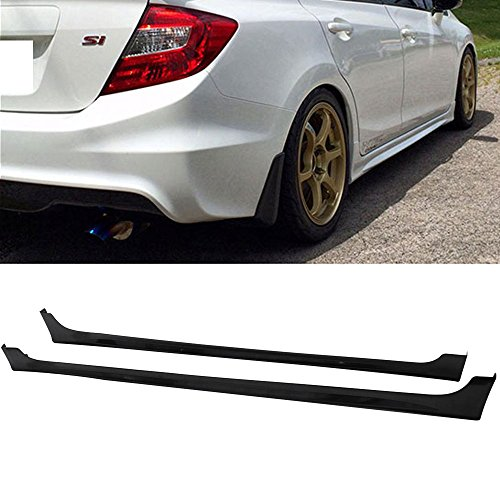 Side Skirts Fits 2012-2015 Honda Civic | 9th 4Dr Mugen RR Style Side Skirts Rocker Panels Pair -ABS by IKON MOTORSPORTS | 2013 (Civic Skirt)