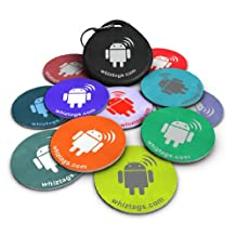 NFC tags - Topaz 512 Chip - 10 NFC Tags + Free NFC-Keychain + Free Bonus Tag - Android Writeable & Programmable - Samsung Galaxy S4 S3 Note 3 - HTC One First One X Droid DNA - Sony Xperia - Nexus - Smart Tags - Adhesive Sticker Back!