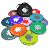 NFC tags - Topaz 512 - 10 NFC Tags with Bonus NFC-Keychain and Bonus Tag - Android Writeable Programmable - Samsung Galaxy S7 S6 S5 S4 Note 5 - HTC Compatible - Sony Xperia - Nexus - Smart Tags - Adhesive Sticker Back - Best Money-Back Guarantee