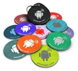 NFC tags - Topaz 512 Chip - 10 NFC Tags + Free NFC-Keychain + Free Bonus Tag - Android Writeable & Programmable - Samsung Galaxy S6 S5 S4 Note 4 - HTC One First One X Droid DNA - Sony Xperia - Nexus - Smart Tags - Adhesive Sticker Back - Best Money-Back Guarantee!
