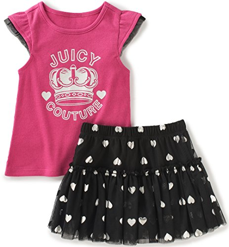 Juicy Couture Baby Girls 2 Pieces Skirt Set, Pink, 12M by Juicy Couture