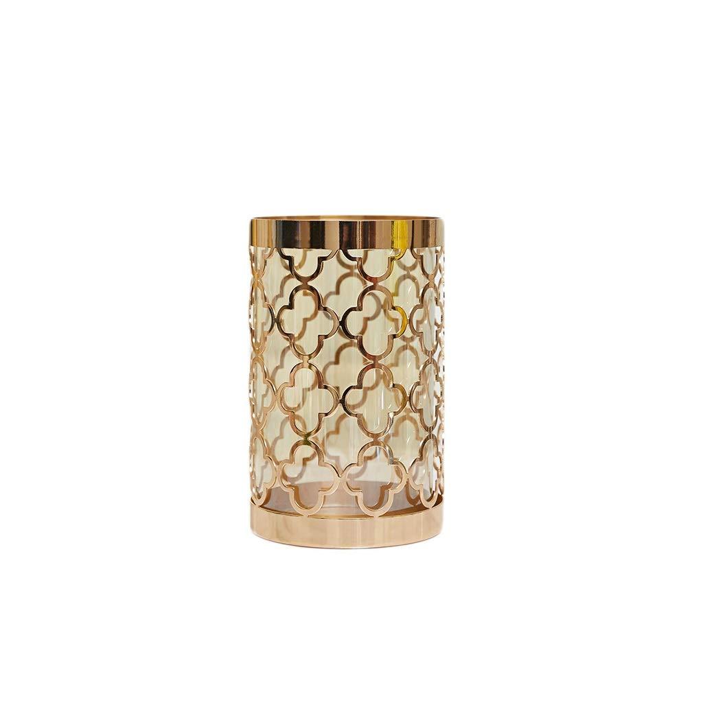 ガラス花瓶 透明な花瓶円筒形花瓶メタルローソク足フラワーコンテナデコレーションホロー(25×15cm) B07T4GGVQP