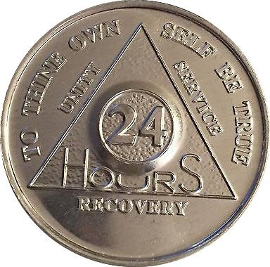 Lot of 25 Aluminum 24 Hour AA Alcoholics Anonymous Chips Medallions 24hrs ()