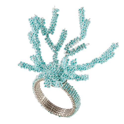 Coral Napkin Ring - SARO LIFESTYLE NR227.A Beaded Coral Napkin Rings (Set of 4), 3