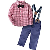BIG ELEPHANT Baby Boys' 2 Pieces Gentle Pants Clothing Set with Bowtie