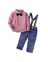 BIG ELEPHANT 2 Pieces Baby Boys' Shirt Pants Set with Suspenders H03C