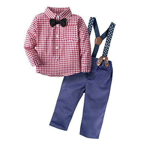 Big Elephant Baby Boys' 3 Piece Genle Pants Clothing Set with Bowtie Red H03 (Baby Santa Outfit For Boy)