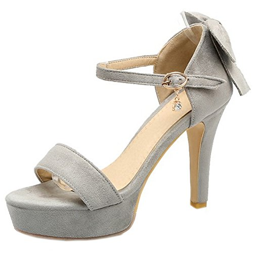 Coolcept Women Fashion Ankle Strap Sandals Open Toe Platform Block Heel Shoes with Bow Grey qKMIiNc