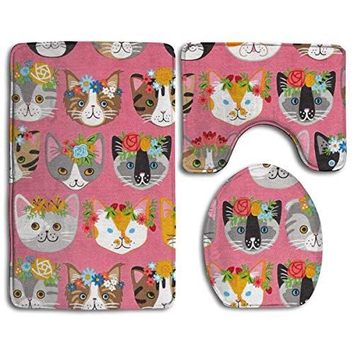 Bennett11 Bathroom Rug Mat,Toilet Seat Cover Whiskers & Tails Dressy Kitty Cats Bath Mat Bathroom Kitchen Carpet Doormats 31.5