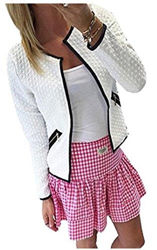 YOGLY Cardigan de las Mujeres Coat Jacket Outwear la blusa Otoño Invierno corto Párrafo de Cremallera de Manga Larga Cuello Redondo Blanco
