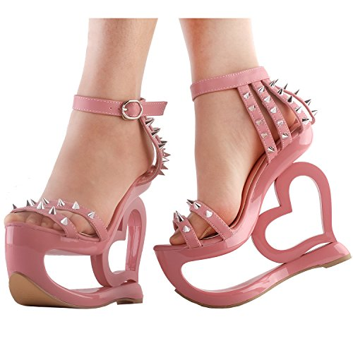 Spikes Show Heel Sandals Punk Strappy Pink Wedge Baby Evening Story Heart LF40204 Black rUxSwtqU