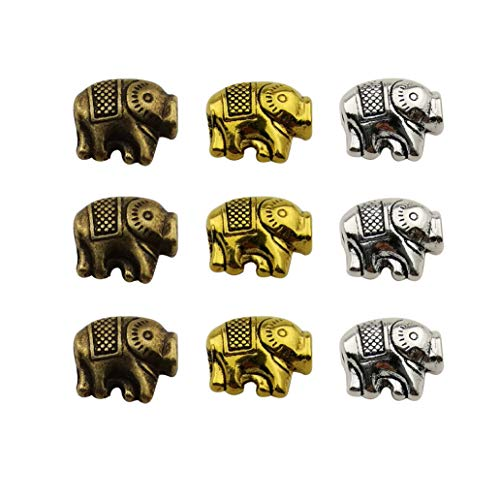 45pcs Antique Silver Bronze Gold Mixed Elephant Loose Spacer Bead,Craft Supplies Charms Pendants for Jewelry Findings Making Accessory for DIY Bracelet Necklace M228