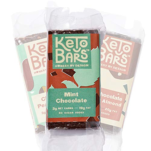 KETO BARS [10 Pack]: 3g Net Carbs   19g Fat   The Original. The Best. High Fat, Low Carb, Chocolate Keto Bar. Simple Ingredients, Gluten Free, Vegan. (Mint Chocolate)