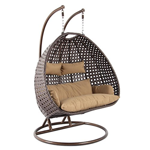 Island Gale Outdoor Patio Furniture Luxury 2 Person Wicker Egg Shaped Swing Chair w/ Powder Coated Iron Stand, Cushion and 2 Headrests for Outdoor, Indoor, Garden, Porch ((2 Person)X-Large-PRO, - Shaped Egg Heads