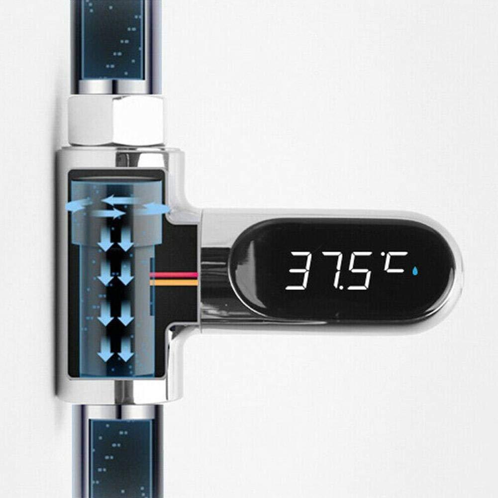 Parkomm Shower Thermometer LED-Anzeige Wasser Dusche Thermometer Echtzeit Wasserdurchfluss Temperaturmonitor mit 360 /° drehbarem Bildschirm