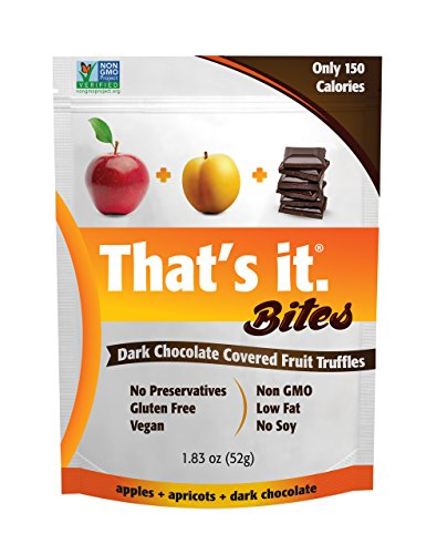 Apricot Chocolate Candy (That's It Apple + Apricot Chocolate Fruit Bites, Dark Chocolate Covered Fruit Truffles, 100% Natural Great Tasting Real Fruit Vegan, Gluten Free, Paleo, Kosher, Non GMO, No Preservatives | 6 Pouches)
