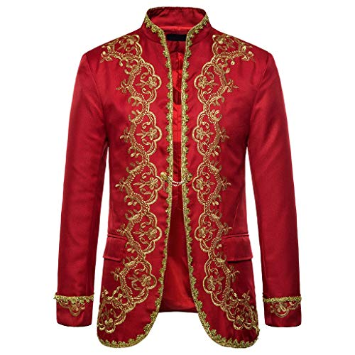 Funnygals - Men Gothic Military Jackets Steampunk Vintage Jacket Victorian Coat Costumes -