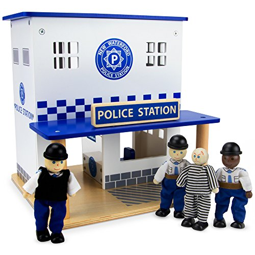 Imagination Generation Wooden Wonders Crime Busters Police Station Playset, Includes Dolls and Furniture (10 Pieces)
