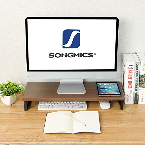 SONGMICS Monitor Stand Riser with Metal Frame, TV Printer Shelf, Multifunctional Desktop Organizer for Computer, Laptop, and Office Supply Dark Walnut Brown ULMS59BC