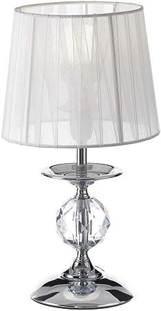 Lámpara de mesita de Noche Moderna Plateada de Metal para ...
