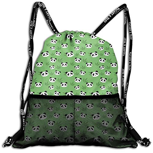 Moore Me Pandas On Grass Green Drawstring Backpack Shoulder Bags Rucksack for Kids Teens Boys and Girls Birthday Goodie Bags Polyester Fabric Sport Gym Sack Cute Gym ()