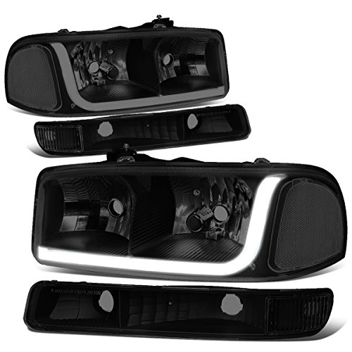 For 99-07 GMC Sierra/ 00-06 Yukon LED DRL Black Housing Smoke Lens Clear Corner Headlight w/Bumper Lights/Lamps - Pair