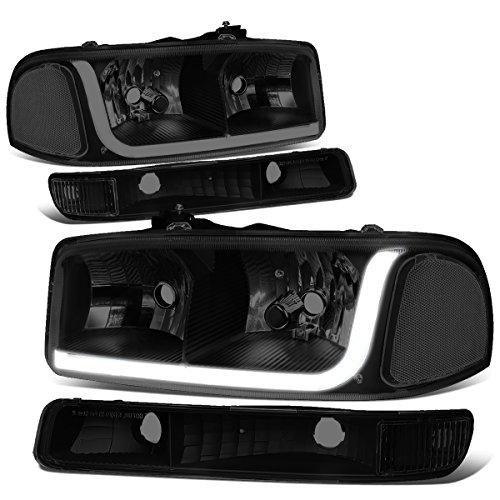 GMC Sierra Classic / Yukon LED DRL Light Strip Black Housing Smoke Lens Headlight+Bumper Lamp