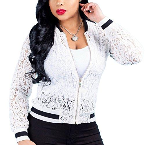 Floral White de Bomber ZFFde Zip Up courte Femmes Baseball Hiver Manteau vider dentelle causal Jacket wx66qCS0U