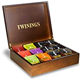 Twinings Exclusive Luxury Dark and Gold Wooden 12 Compartment Large Wooden Tea Chest Caddy with 100 Individually Wrapped Tea Bags